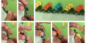 Renkli Çiçek Bahçesi Tığ Oyası Modeli Yapımı
